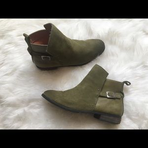 Green suede ankle booties!
